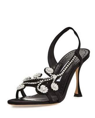Manolo Blahnik Fernusan Embellished Satin Sandals, Black