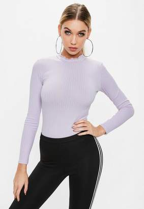 Missguided Lilac Long Sleeve Ribbed Bodysuit