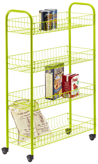 Container Store 4-Tier Slim Rolling Cart Green