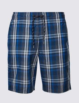 Marks and Spencer Cotton Rich Checked Quick Dry Swim Shorts