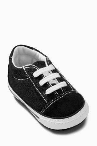 Boys Black Pram Lace-Up Shoes (Younger Boys) - Black