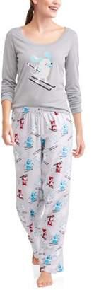Family PJs Family Sleep Holiday Ski Dogs 2 Piece Pajama Sleep Set (Women's and Women's Plus)