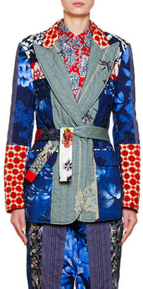 Etro Cotton-Quilt Patchwork Blazer