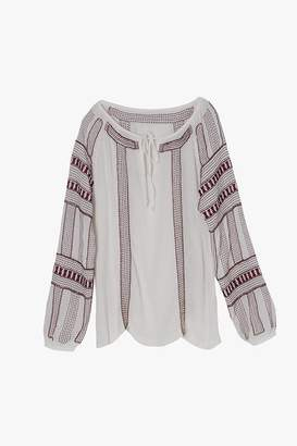 Genuine People Embroidered Beaded Sheer Peasant Blouse