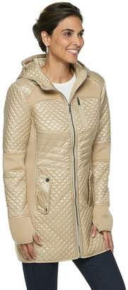 London Fog Tower By Women's TOWER by Hooded Quilted Mixed-Media Jacket