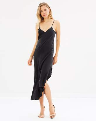 Asymmetric Ruffle Slip Dress