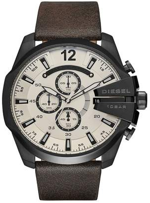 Diesel Men's Mega Chief Leather Strap Chronograph Watch, 51mm