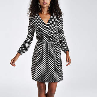 River Island Womens Black spot print plisse wrap front mini dress