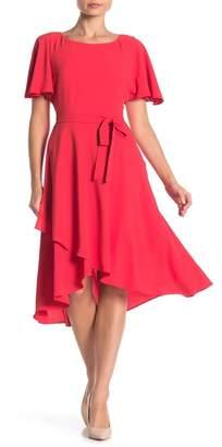Anne Klein Flutter Sleeve Faux Wrap Dress