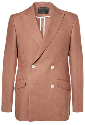 Favourbrook Terracotta Evering Orion Slim-Fit Double-Breasted Linen Tuxedo Jacket