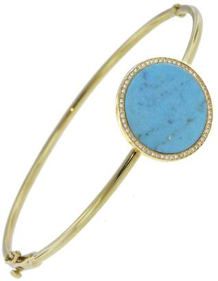 Jennifer Meyer Large Turquoise & Diamond Circle Bangle - Yellow Gold
