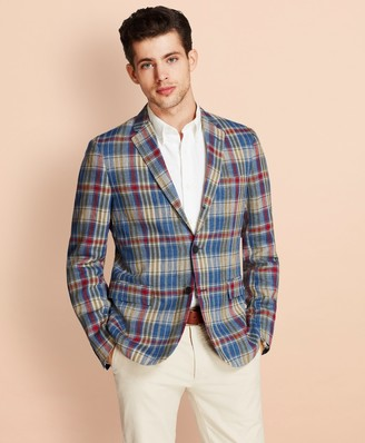Brooks Brothers Plaid Three-Button Linen Twill Sport Coat