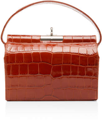 gu de Milky Large Croc-Effect Leather Top Handle Bag