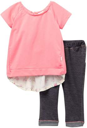 BCBGirls Flyaway French Terry Top & Denim Knit Leggings Set (Toddler Girls)