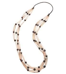 David Jones Triple Strand Long Bead Necklace
