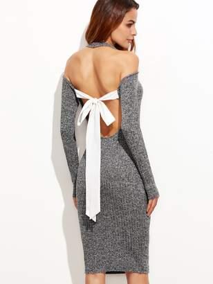 Shein Contrast Bow Tie Back Space Dye Halter Dress