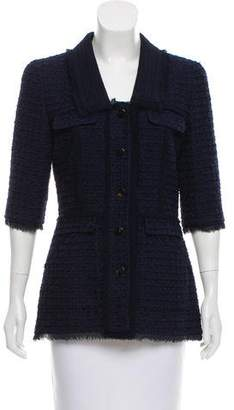 Oscar de la Renta Silk-Trimmed Tweed Jacket