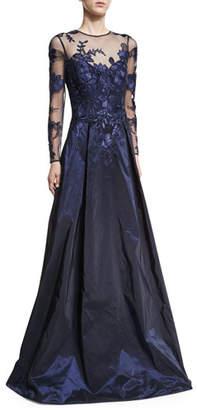 Rickie Freeman For Teri Jon Long-Sleeve Illusion Lace Taffeta-Skirt Evening Gown