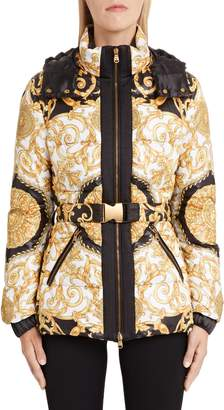 Versace First Line Hibiscus Print Quilted Coat