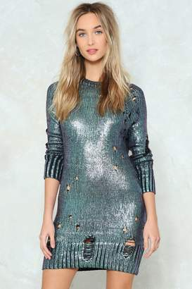 Nasty Gal Get Knit Together Metallic Sweater Dress