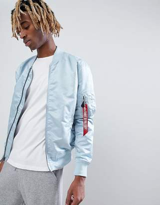 Alpha Industries MA1-TT VF Lightweight Reversible Bomber Jacket in Blue/Silver With Blood Chit Patch