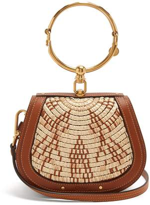 Chloé Nile small leather and raffia cross-body bag