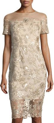 JAX Illusion-Yoke Sequin-Embroidered Dress $119 thestylecure.com