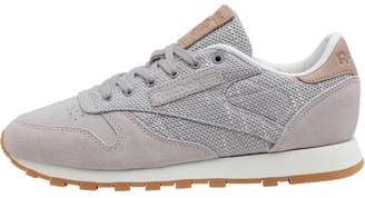 bac03fe7492 Reebok Classics Womens Classic Leather Elevated Basics Trainers Whisper  Grey Chalk Lilac Ash