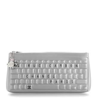 Chanel Pouch Keyboard Metallic Silver