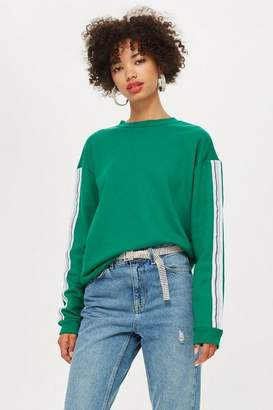 Topshop Taped Sleeve Sweatshirt