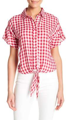 Love, Fire Gingham Tie Front Shirt
