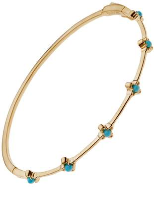 Lee Jones Collection Turquoise Bloom Bangle Bracelet - Yellow Gold