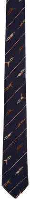 Thom Browne Navy Silk Swimmer Tie