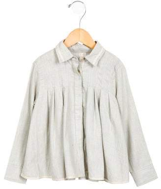 Tia Cibani Girls' Gathered Button-Up Top w/ Tags