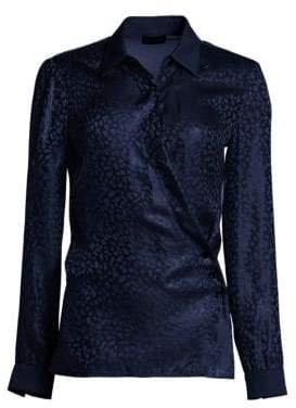 Emporio Armani Animal Jacquard Long Sleeve Silk Blouse