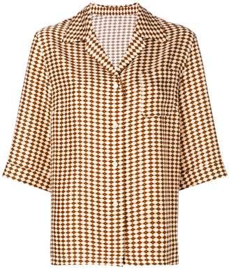 Alberto Biani diamond print half sleeve open collar shirt