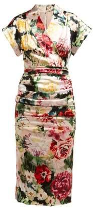 fca376dc1ca1 Dolce & Gabbana Floral Print Satin Midi Dress - Womens - White Multi