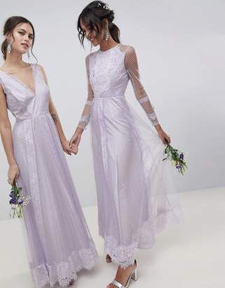 Asos DESIGN Bridesmaid Dobby Mesh And Lace Mix Long Sleeve Maxi Dress