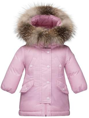 Moncler 'Arrious' Water Resistant Genuine Fox Fur Trim Hooded Down Coat (Baby Girls)