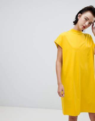 Weekday high neck dress in yellow
