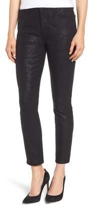 Jen7 Floral Metallic Ankle Skinny Jeans