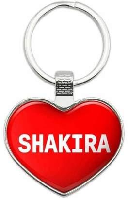 Shakira Generic Names Female Metal Heart Keychain Key Chain Ring, Red