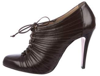 Christian Louboutin Leather Lace-Up Booties Brown Leather Lace-Up Booties