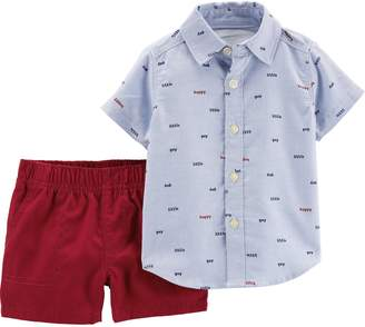 Carter's Baby Boy Button Down Shirt & Canvas Shorts Set