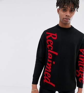 Reclaimed Vintage inspired oversized logo sweater in black