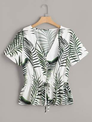 0a6e968db73e35 Shein Plus Tropical Print Knot Shirred Waist Blouse