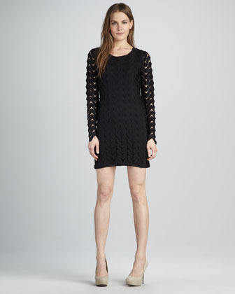 Free People Zigzag-Lace Minidress, Black