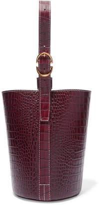 Trademark - Small Croc-effect Leather Bucket Bag - Burgundy