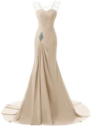 Aurora Bridal Chiffon Long Beaded Evening Dresses Women Formal Gowns