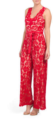 Petite Stretch Lace Ribbon Belted Jumpsuit